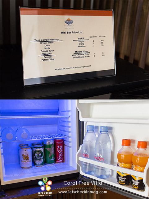 มินิบาร์ในห้องฟรีทุกอย่าง ยกเว้นเครื่องดื่มแอลกอฮอล์