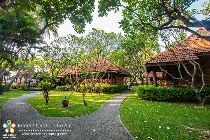 ทางเดินไปบ้านพัก เขียวๆ ร่มรื่นแบบนี้ตลอดทาง ชอบตรงที่เขาดูแลเรื่องต้นไม้และสวนได้ดี ไม่รก แต่ร่มรื่น