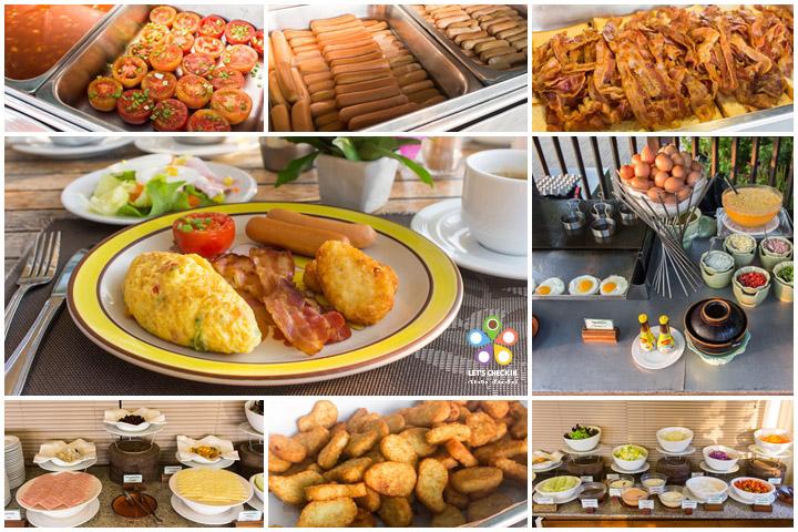 breakfast แบบฝรั่ง ไข่ ไส้กรอก เบค่อน แฮม ชีส สลัด มะเขือเทศ ถั่ว แฮชบราวน์ โยเกิร์ต