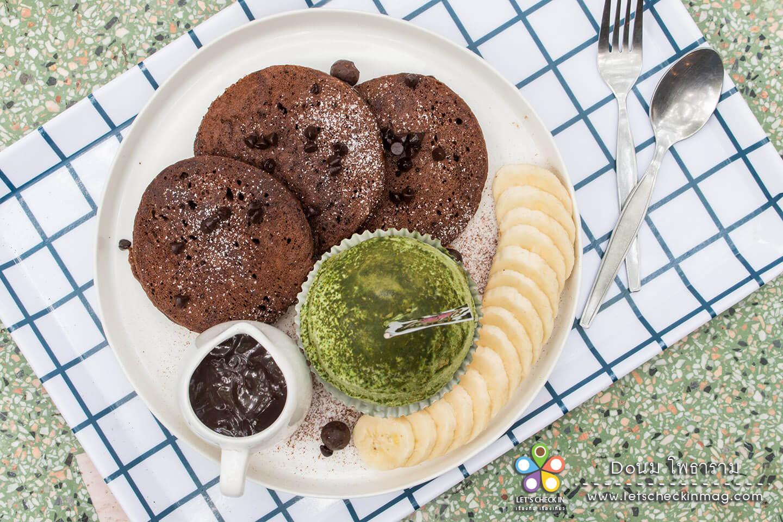 แพนเค้กชอค+ไอติมลาวาชาเขียว